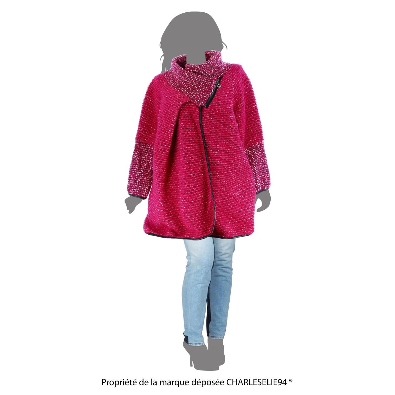 8c327ec07835 Manteau cape laine bouillie hiver grande taille fushia VIOLETTA