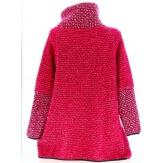 Manteau cape laine bouillie hiver grande taille fushia  VIOLETTA