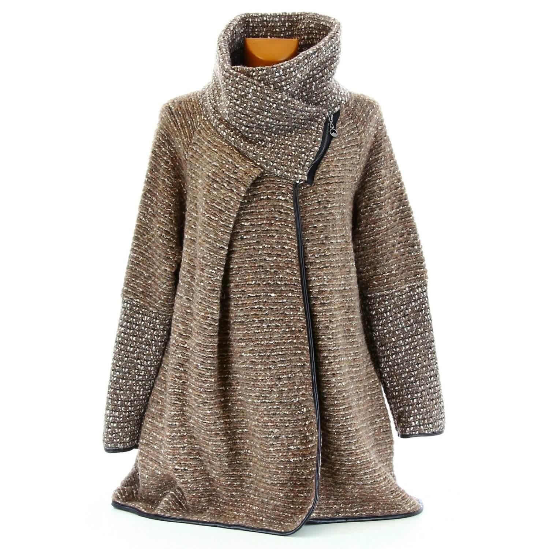 a4a5e58e4bc Manteau cape laine bouillie hiver grande taille taupe VIOLETTA