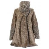 Manteau cape laine bouillie hiver grande taille taupe  VIOLETTA