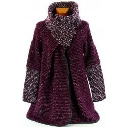 Manteau cape laine bouillie hiver grande taille violet  VIOLETTA