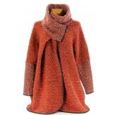 Manteau cape laine bouillie hiver grande taille potiron  VIOLETTA