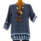 Chemise tunique ample bohème bleu marine  MILEVA  grande taille