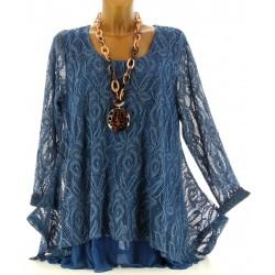 Tunique longue dentelle bleu jean FLORIANNE