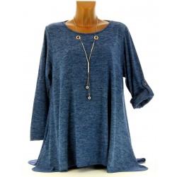 Tunique bijou longue asymétrique bohème bleu jean grande taille  PAMELLA