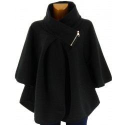Cape manteau grand col grande taille noir  MATHILDA