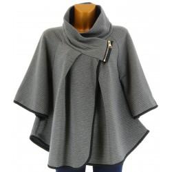 Cape manteau grand col grande taille gris  MATHILDA