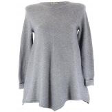 Pull tunique  trapèze asymétrique gris CHRISTOPHE