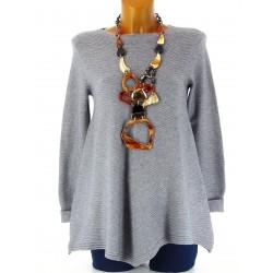 Pull tunique laine trapèze asymétrique gris CHRISTOPHE