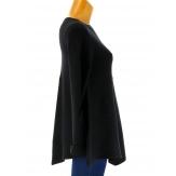 Pull tunique trapèze asymétrique noir CHRISTOPHE