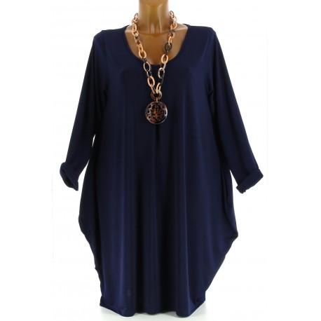 Robe Tunique boule Jersey Grande Taille bleu marine  OLIVE