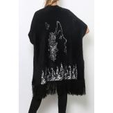 Gilet long cardigan poncho laine à poils ample noir COCTEAU