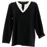 Tunique chemise crêpe grande taille noir blanc  ADELIA