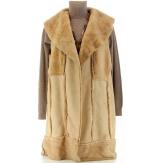 Manteau gilet long fausse fourrure sans manche  gris ANGELICA
