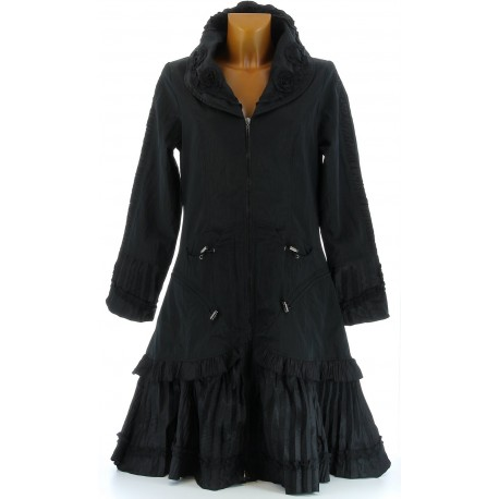 Manteau long trench imperméable grande taille noir ANGELINA
