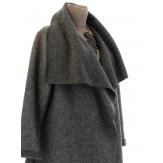 Manteau hiver ample laine bouillie grande taille gris AURELIA