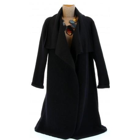 Manteau hiver ample laine bouillie grande taille noir AURELIA