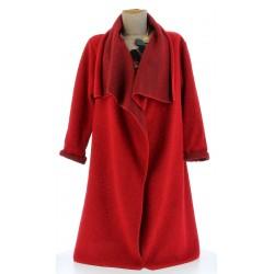 Manteau hiver ample laine bouillie grande taille rouge  AURELIA