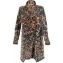 Gilet manteau long cardigan ethnique laine gris ERICA