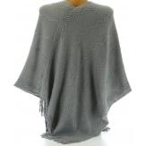 Poncho cape hiver pompons fourrure gris ADELINE