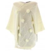 Poncho cape hiver pompons fourrure beige ADELINE