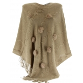 Poncho cape hiver pompons fourrure taupe  ADELINE
