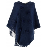 Poncho cape hiver pompons fourrure bleu marine  ADELINE