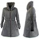 Doudoune Longue Manteau hiver grande taille gris rayé     ALICE