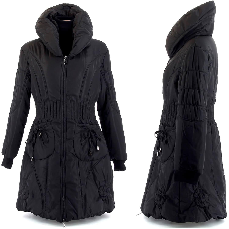 1f27f360c99b Doudoune longue hiver noire manteau grande taille AMELIE