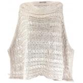 poncho laine mohair torsades beige CLEMENTINA