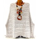 Poncho pull cape laine mohair grosse maille hiver beige argent   CLEMENTINA