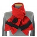 écharpe longue laine bouillie fleurs rouge noir   ALBERT