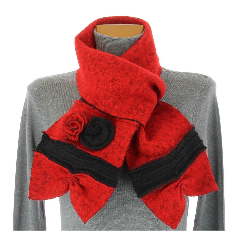 écharpe longue laine bouillie fleurs rouge noir ALBERT ed3f26115c3a