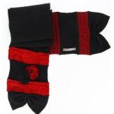 écharpe longue laine bouillie fleurs noir  ALBERT