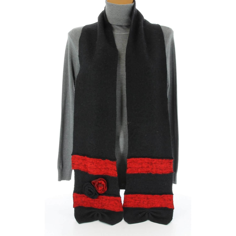 écharpe longue laine bouillie fleurs noir ALBERT e136c6d81914