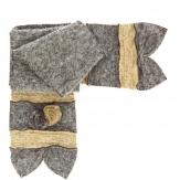 écharpe longue laine bouillie fleurs gris beige  ALBERT