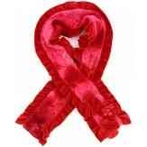 écharpe longue laine bouillie fleurs volants rouge   ANATOLE