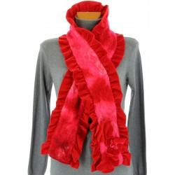 écharpe longue laine bouillie fleurs volants rouge ANATOLE 5d33257d3f36