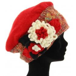 Bonnet femme laine bouillie hiver rouge MATHIEU