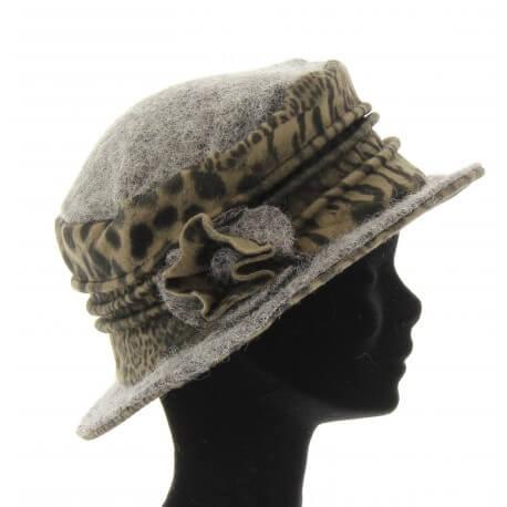 Bonnet chapeau cloche léopard laine bouillie hiver gris BASTIEN