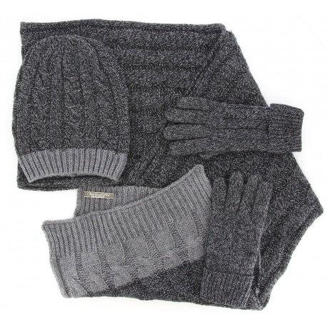 Pack écharpe longue bonnet gants laine homme femme hiver gris DAMIEN