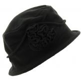 Bonnet chapeau cloche hiver polaire noir CASTOR