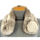 Col écharpe fourrure lapin avec pompon gris NATHAN