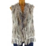 Gilet veste sans manche fourrure marmotte et lapin gris JONATHAN