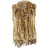Gilet veste sans manche fourrure marmotte et lapin beige naturel JONATHAN