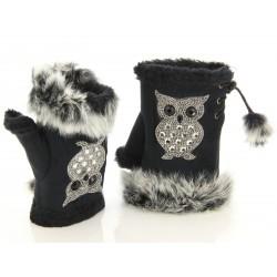 Mitaines gants fourrure polaire hiver noir CHOUETTE