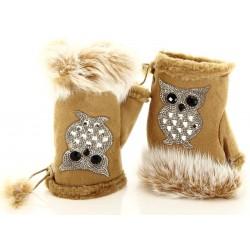 Mitaines gants fourrure polaire hiver camel CHOUETTE