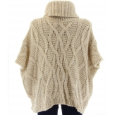 Pull poncho laine mohair grosse maille hiver beige  SORENZA