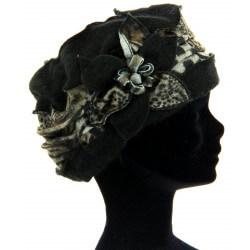 Bonnet femme laine bouillie hiver léopard noir     ARNOLD
