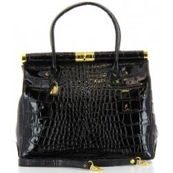 Sac à main femme cuir vernis luxe noir MILANO